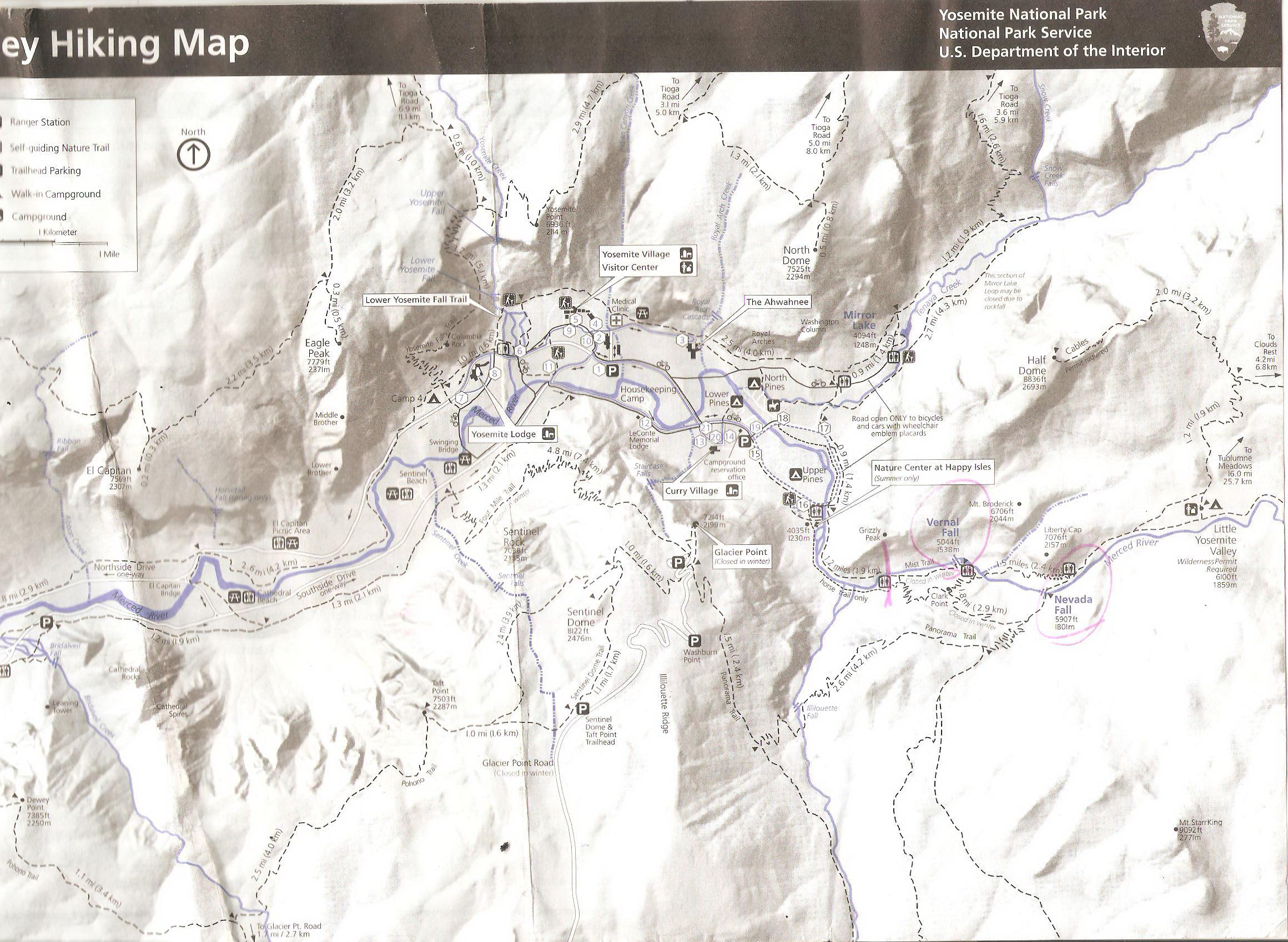 США, Yosemite, схема маршрута